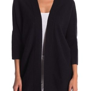 Halogen Cashmere Cardigan Open Front 3/4 Sleeves